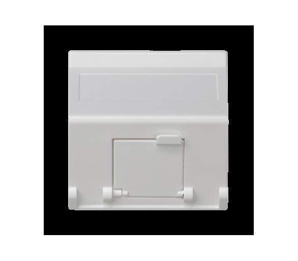 Plakietka teleinformatyczna K45 do adapterów MD pojedyncza skośna z osłonami 45×45mm czysta biel K80/9