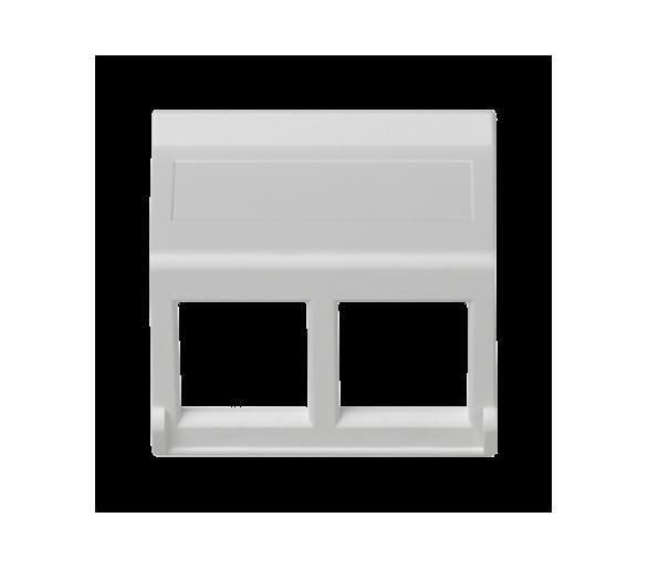 Plakietka teleinformatyczna K45 do adapterów MD podwójna bez osłon skośna 45×45mm czysta biel KB080/9