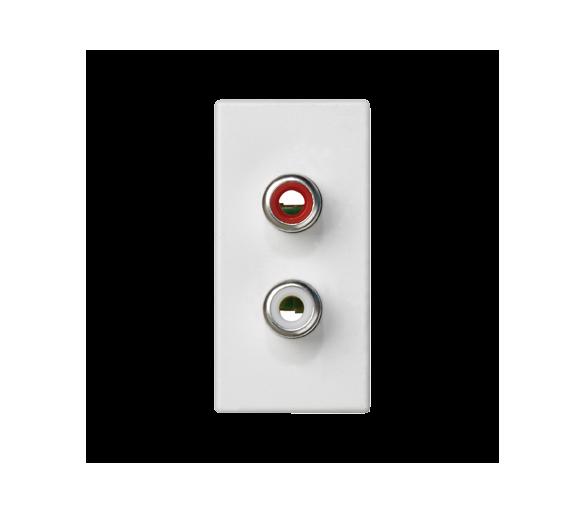 Płytka K45 złącza 2× RCA (CINCH) 45×22,5mm czysta biel K101B/9