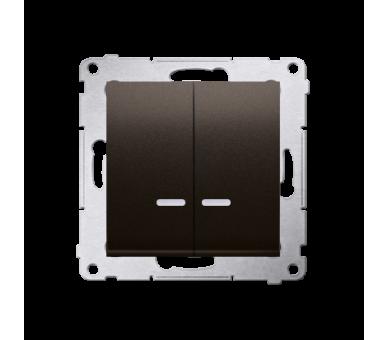 Łącznik świecznikowy z podświetleniem LED do wersji IP44 (moduł) 16AX 250V, zaciski śrubowe, brąz mat, metalizowany DW5ABL.01/46