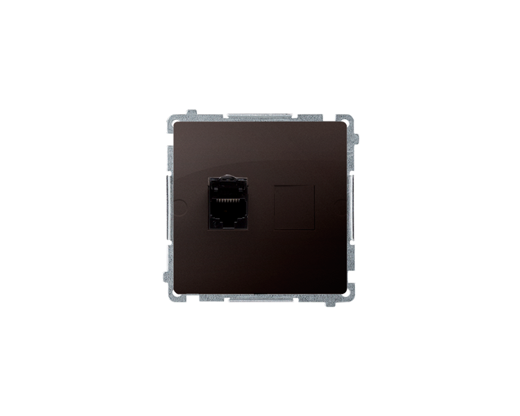 Gniazdo komputerowe pojedyncze RJ45 kategoria 6, z przesłoną przeciwkurzową (moduł) czekoladowy mat, metalizowany BM61.01/47