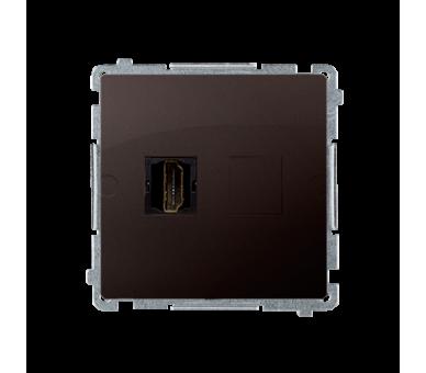 Gniazdo HDMI pojedyncze czekoladowy mat, metalizowany BMGHDMI.01/47