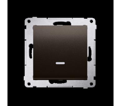 Łącznik jednobiegunowy z podświetleniem LED (moduł) 10AX 250V, szybkozłącza, brąz mat, metalizowany DW1L.01/46