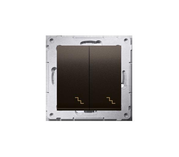 Łącznik schodowy podwójny z podświetleniem LED (moduł) 10AX 250V, zaciski śrubowe, brąz mat, metalizowany DW6/2L.01/46