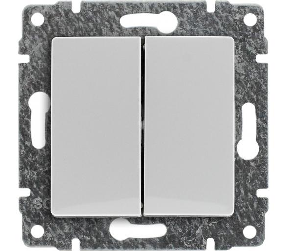 Łącznik świecznikowy z klawiszem, bez ramki biały VENA 510415