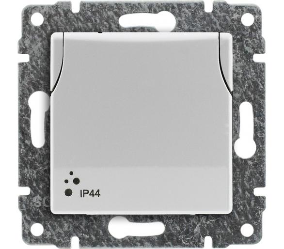Gniazdo bryzgoszczelne pojedyncze z uziemieniem z przesłoną torów prądowych, bez ramki białe VENA 510439