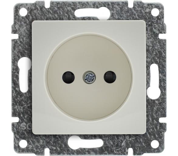 Gniazdo pojedyncze z przesłoną torów prądowych, bez ramki kremowe VENA 510333