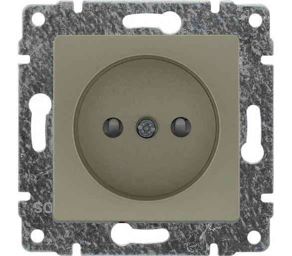 Gniazdo pojedyncze z przesłoną torów prądowych, bez ramki satyna VENA 515033
