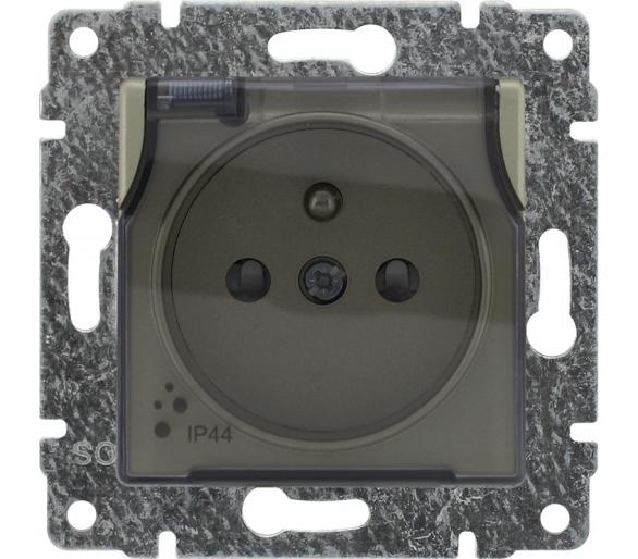 Gniazdo bryzgoszczelne pojedyncze z uziemieniem z przesłoną torów prądowych, bez ramki satyna VENA 515039