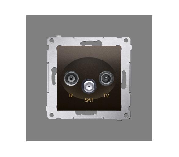 Gniazdo antenowe R-TV-SAT przelotowe tłum.:10dB brąz mat, metalizowany DASP.01/46