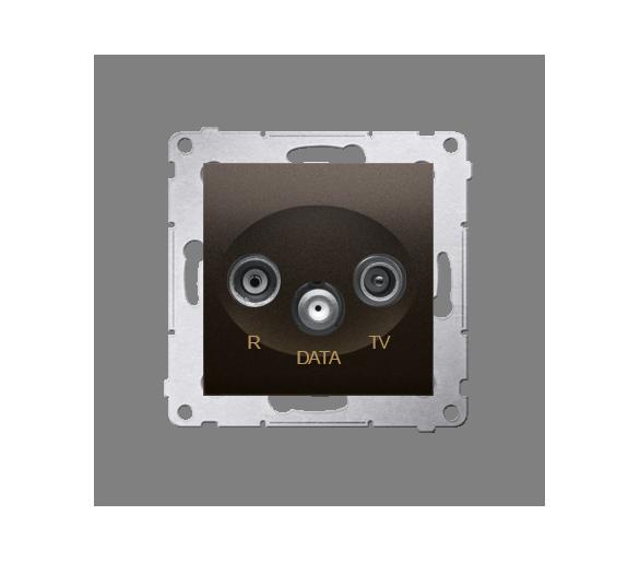 Gniazdo antenowe R-TV-DATA tłum.:10dB brąz mat, metalizowany DAD.01/46