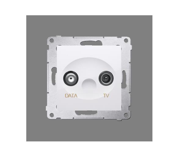 Gniazdo antenowe TV-DATA tłum.:5dB biały DAD1.01/11