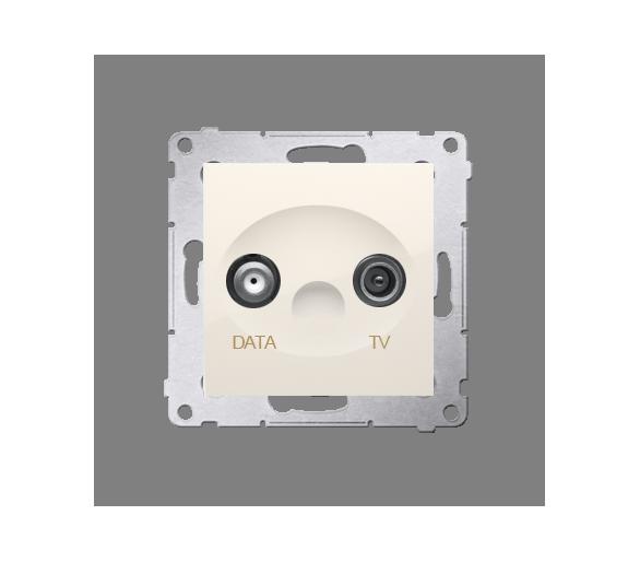 Gniazdo antenowe TV-DATA tłum.:5dB kremowy DAD1.01/41
