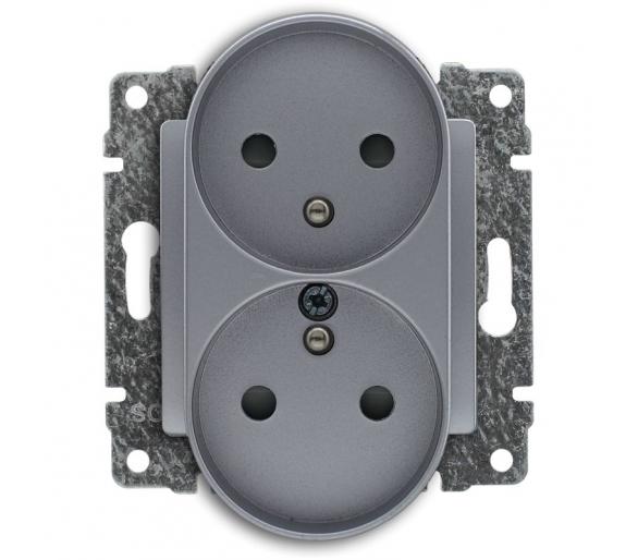 Gniazdo podwójne z uziemieniem i przesłoną torów prądowych, bez ramki aluminium VENA2 524047