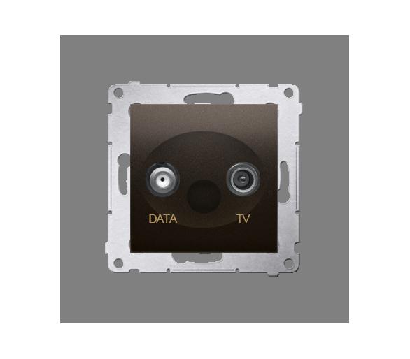 Gniazdo antenowe TV-DATA tłum.:5dB brąz mat, metalizowany DAD1.01/46