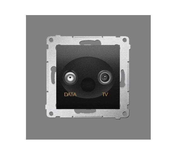 Gniazdo antenowe TV-DATA tłum.:5dB antracyt, metalizowany DAD1.01/48