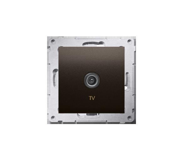 Gniazdo antenowe TV pojedyncze końcowe brąz mat, metalizowany DAK1.01/46