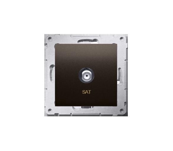 """Gniazdo antenowe typu """"F"""" pojedyncze brąz mat, metalizowany DASF1.01/46"""