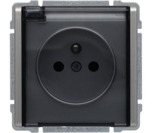 Gniazdo bryzgoszczelne pojedyncze z klapką dymną, bez ramki aluminium KOS66 664040