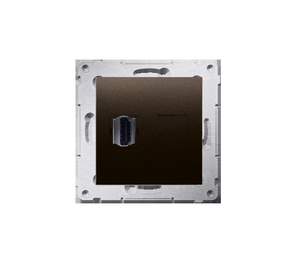 Gniazdo HDMI pojedyncze brąz mat, metalizowany