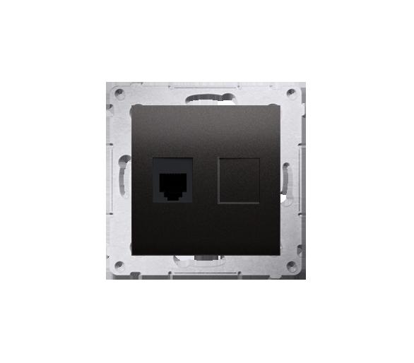 Gniazdo telefoniczne pojedyncze RJ12 (moduł) brąz mat, metalizowany DT1.01/46