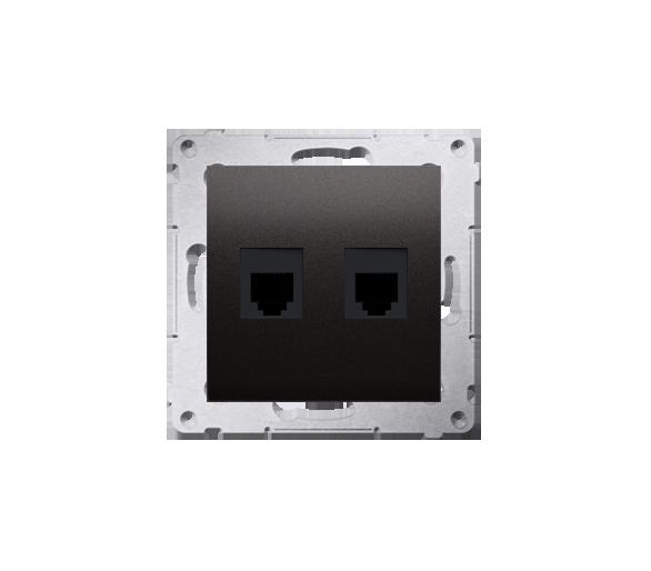 Gniazdo telefoniczne podwójne RJ12 (moduł) brąz mat, metalizowany DT2.01/46