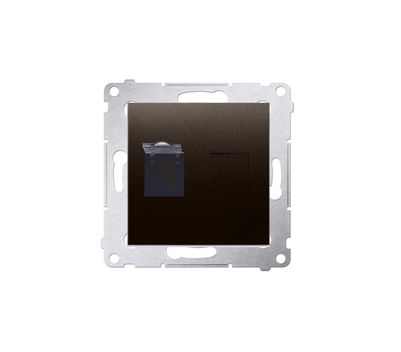 Gniazdo komputerowe pojedyncze RJ45 kategoria 6, z przesłoną przeciwkurzową (moduł) brąz mat, metalizowany D61.01/46
