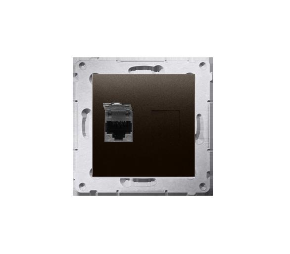 Gniazdo komputerowe pojedyncze ekranowane RJ45 kategoria 6, z przesłoną przeciwkurzową (moduł) brąz mat, metalizowany D61E.01/46