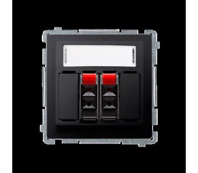 Gniazdo głośnikowe 2-krotne z polem opisowym grafit mat, metalizowany BMGL3.01/28