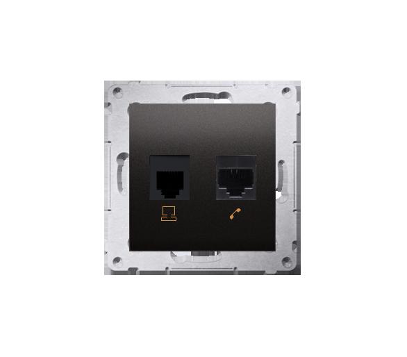 Gniazdo komputerowe RJ45 kategoria 5e + telefoniczne RJ12 (moduł) brąz mat, metalizowany D5T.01/46