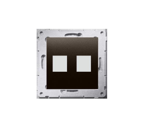 Pokrywa gniazd teleinformatycznych na Keystone płaska podwójna brąz mat, metalizowany DKP2.01/46