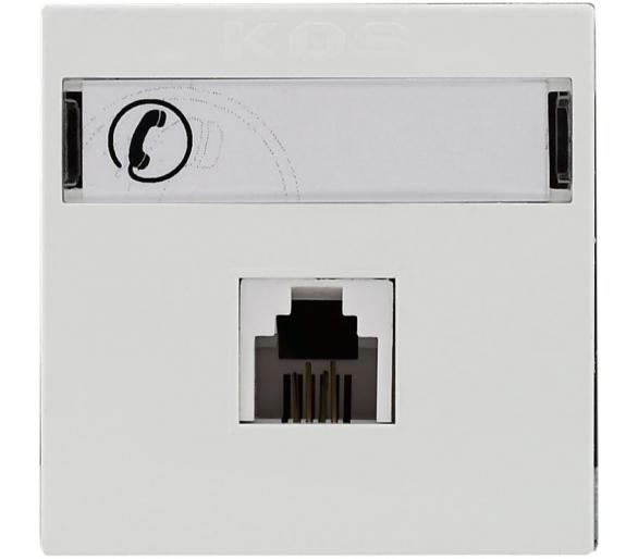 Gniazdo telefoniczne RJ 11 pojedyncze z etykietą białe KOS45 350463
