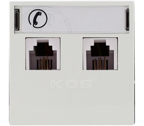 Gniazdo telefoniczne RJ 11 podwójne z etykietą białe KOS45 350464