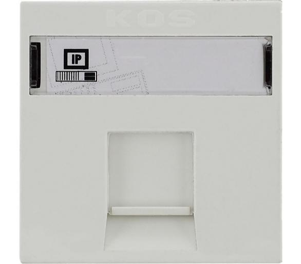 Gniazdo komputerowe (teleinformatyczne) pojedyncze typu MOLEX z zasłoną i etykietą białe KOS45 350465