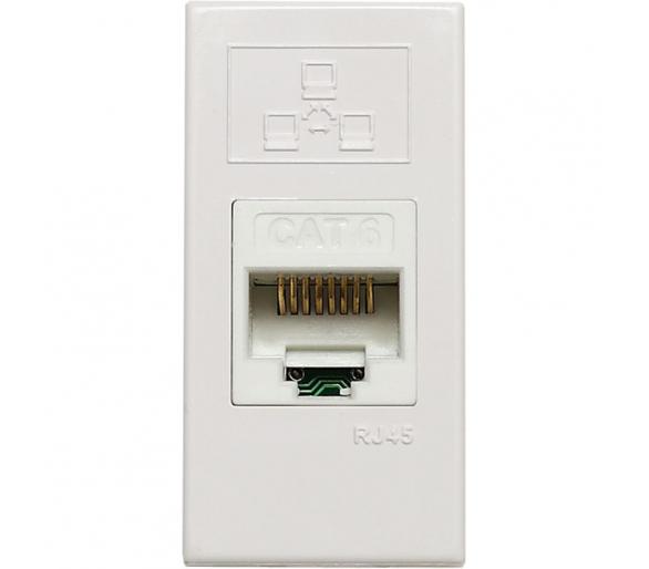 Gniazdo komputerowe (teleinformatyczne) pojedyncze, z zasłonką, 22,5x45 mm białe KOS45 500401