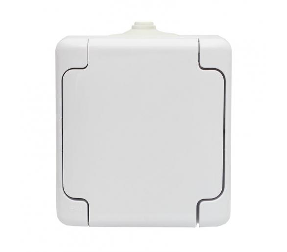 Gniazdo pojedyncze IP 54, klapka biała BRYZA 180432