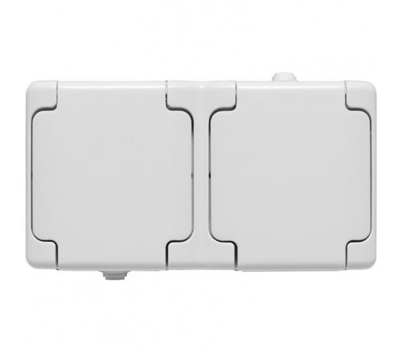 Gniazdo podwójne poziome IP 54, klapka biała BRYZA 180436