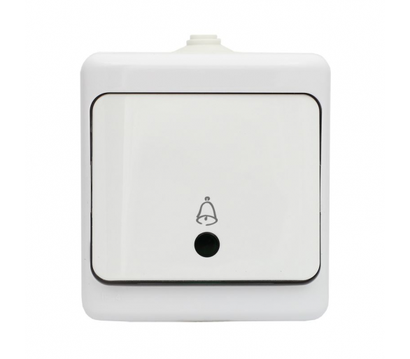 Przycisk dzwonek, IP54 - podświetlany biały BRYZA 190404
