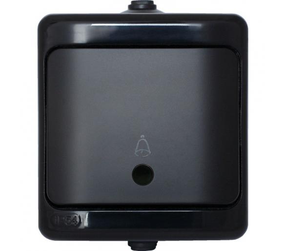 Przycisk dzwonek, IP54 - podświetlany czarny BRYZA 190904