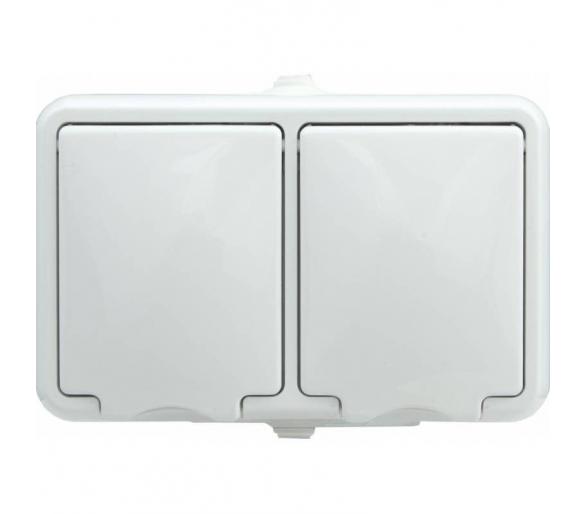 Gniazdo podwójne poziome IP 44, klapka biała HYDRO 120436