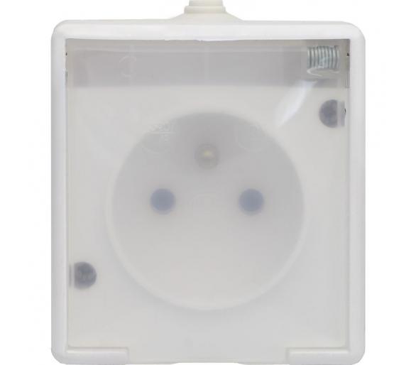 Gniazdo pojedyncze wtynkowe bryzgoszczelne, klapka transparentna TROL 140132