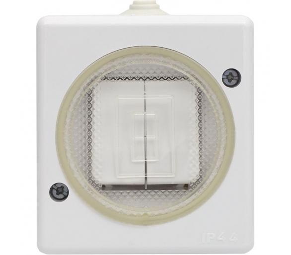 Łącznik podwójny (świecznikowy) wtynkowy bryzgoszczelny biały TROL 140405
