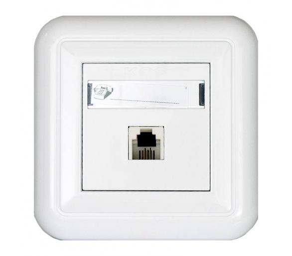 Gniazdo telefoniczne pojedyncze z etykietą białe COSMO 300463