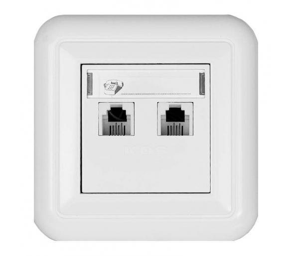 Gniazdo telefoniczne podwójne z etykietą białe COSMO 300464