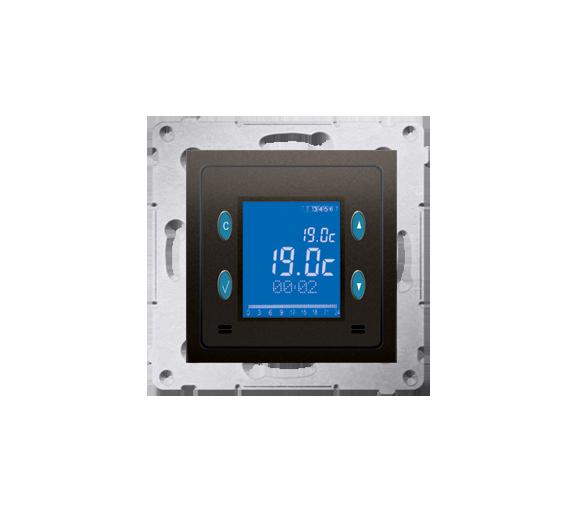 Regulator temperatury z wyświetlaczem (czujnik wewnętrzny) brąz mat, metalizowany