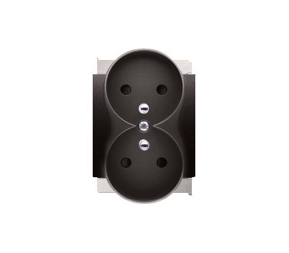 Pokrywa gniazda podwójnego z przesłonami do ramek PREMIUM, czarny DGZ2MZP/49
