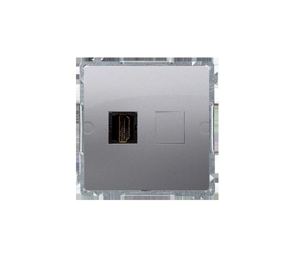 Gniazdo HDMI pojedyncze srebrny mat, metalizowany BMGHDMI.01/43