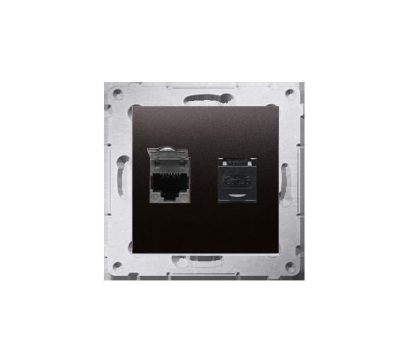 Gniazdo komputerowe podwójne RJ45 kategoria 6, z przesłoną przeciwkurzową (moduł), czarny D62.01/49