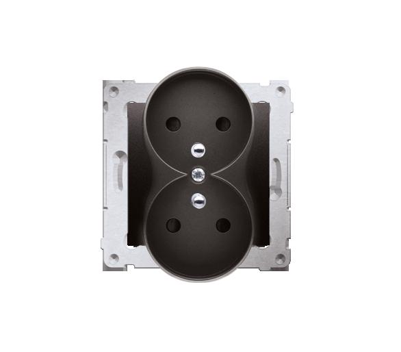 Gniazdo wtyczkowe podwójne z uziemieniem z przesłonami (moduł) 16A, 250V, zaciski śrubowe, czarny DGZ2MZ.01/49