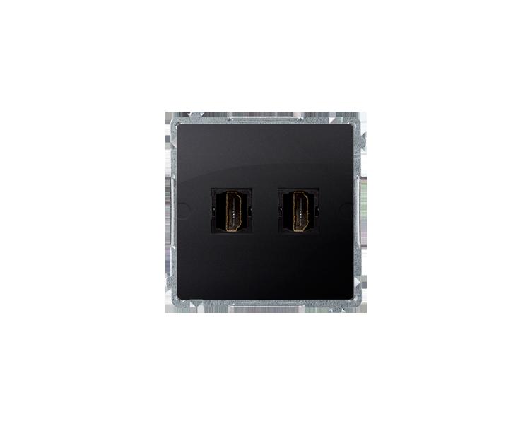 Gniazdo HDMI podwójne grafit mat, metalizowany BMGHDMI2.01/28